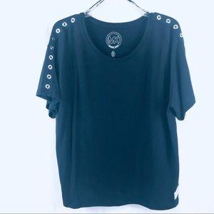 Michael Kors Navy Blue Stretch top Large Mint